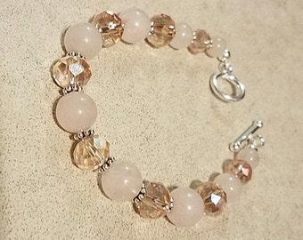 925 sterling rose quartz bracelet