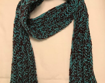Scarf - Handmade, Crochet, Two Toned, Ribbed