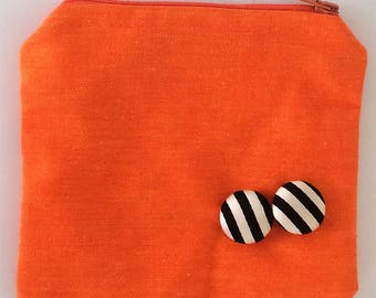 Coin Purse - Orange Black & white aplique Cardholder Wallet