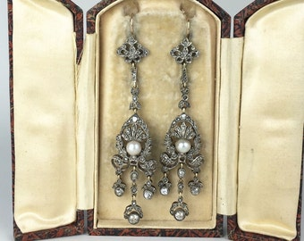 Late Victorian Diamond and Pearl Drop Earrings in the Original Box