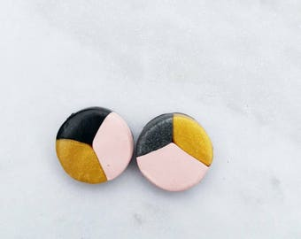 Small Pink, Grey and Gold Pattern Earrings