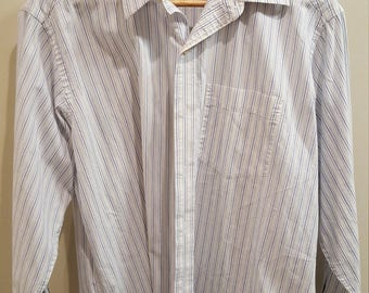 TOMMY HILFIGER Blue and Yellow Vertical Striped Button Down Dress Shirt - Oxford - Long Sleeve - Size: Medium / M
