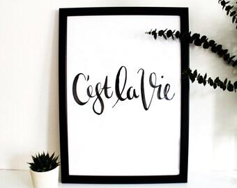 Brush Lettered Typography 'C'est La Vie'