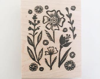 Floral Hand Carved Rubber Stamp