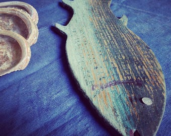wooden, patina blue fish