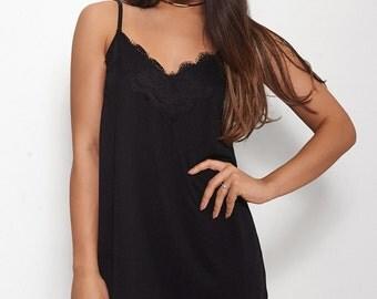 Luna Black Lace Cami Slip Dress