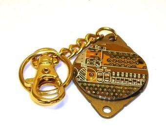 Circuit Board Keychain – Upcycled Keychain, Geek Keychain, Birthday Gift, Bronze.