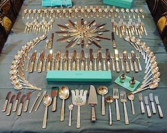 RARE Tiffany Century 173 Piece Sterling Silver Flatware Set Antique Vintage Silverware + 13 Serving Pieces