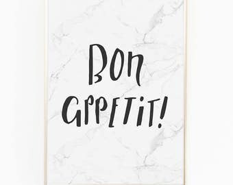 Print / Poster, 'Bon Appetit', Wall Art, Modern, Minimal, Wall Decor, Home Decor, Kitchen Print, Quote, Scandinavian, Typography, Marble