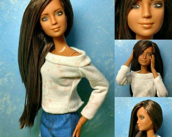 Morgan - OOAK Repainted & Rerooted 1/6 scale, SUPER articulated 11 1/2 inch fashion doll