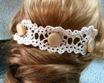 accessory crochet headband hair and old buttons