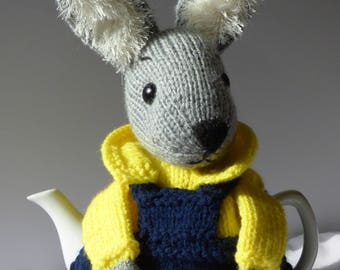 RABBIT teapot cosy/ Knitted teapot cosy/ Handmade teapot cosy/ Handmade teapot cozy/ Handsome rabbit teapot cosy