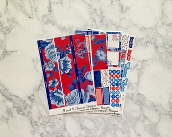 July Erin Condren Monthly View Planner Sticker Kit - Floral Freedom - Independence Day, 4th of July, red white and blue