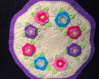 Penny Rug, Wool Felt Candle mat - Flowers,  Wool felt penny rug, table topper, READY TO SHIP