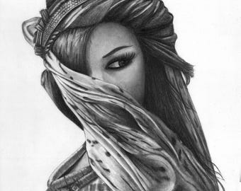 Rihanna Photorealistic drawing portrait/ Fan Present/ Gift/ FanArt/ Print/ Watercolor Paper/ Poster/ Rock/ Pencil Portrait