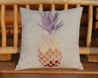 Embroidered Pineapple Pillow Case - Pineapple Pillow Cover - Pineapple Pillow Sham
