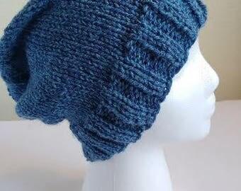 Blue Tweed Versatile Slouchy Beanie - Blue Beanie - Slouchy Beanie - Knit Beanie- Blue hat - Slouchy Hat - Knit Hat