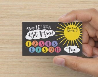 Sunny Skies Punch Card Design Set - 10 Ten Free Item promotion free Consultant Buy 10 Get Free sun