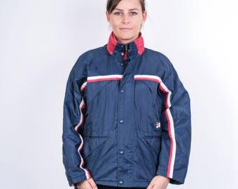 Fila Womens 40 M/L Vintage Jacket Retractable Hood Navy Blue Waterproof