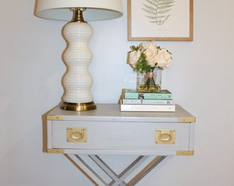 Gray Nightstand, Gray Side Table, Accent Table, Vintage Campaign, Campaign Nightstand