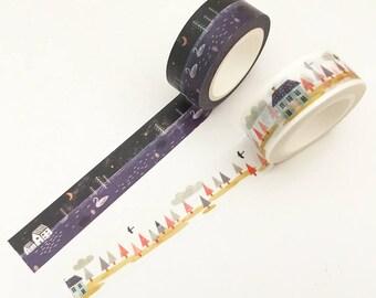 2 pcs Day & Night Washi Tape Set Japanese Stationery Masking Tape Set Deco Tape