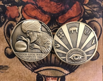 Solid Brass Swami : All Seeing Eye Good Luck Coin Re-Pop