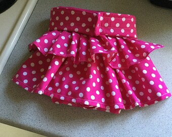Handmade female dog diaper panty with pleated skirt