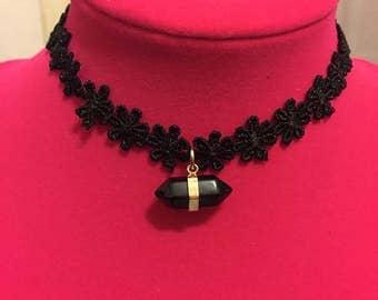 Black Flower Geomertic Gemstone Choker