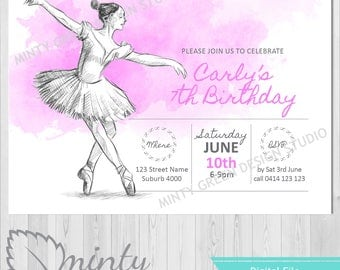 Ballet Birthday Invitation | 6th | 7th | 8th | 9th | 10th | 11th | 12th | 13th | 14th birthday | Dance invitations | Pink | Watercolour