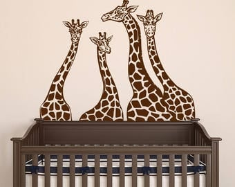 Giraffe Wall Decals - Giraffe Family Wall Stickers - Animal Wall Decal - Giraffes Safari Jungle Vinyl Decals - Baby Nursery Wall Art  S50
