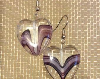 Purple Heart shaped glass earrings