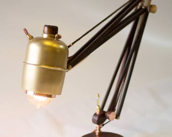 Architect Table Lamp, adjustable, copper, wood brass and leather