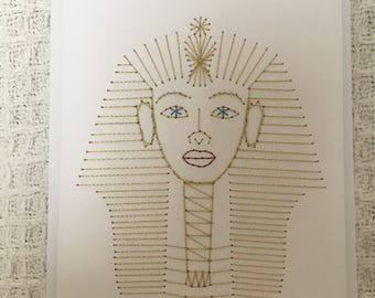 Hand stitched tutankhamun card