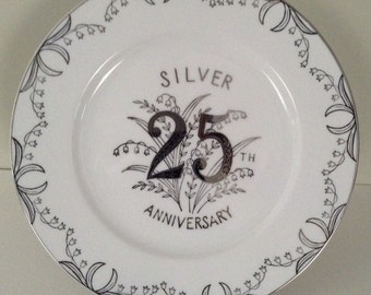 "Norcrest China Silver 25th Anniversary Plate Number B-361 - ""Lily Of The Valley"""