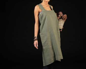 Linen cross back apron / Retro style apron / Long linen apron / sage