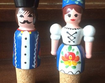 Hand Painted Norwegian Wine Stoppers Wine Corks Man and Woman Wooden Stoppers Folk Art