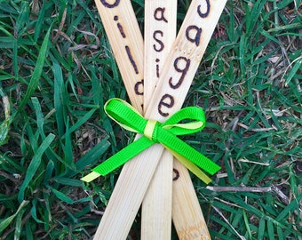 Natural Wood Burned Garden Stakes Set of 3 - Custom Wood Garden Stakes