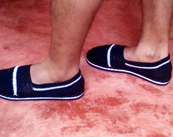 crochet espadrillas for man with rubber soles - Black and White