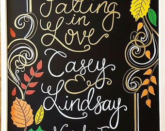 Custom Hand-Painted Engagement Announcement Chalkboard - engagement party display, announcement, home decor