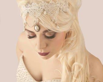 Bethany Luxury Bridal Headpiece 1920s Art Deco Ivory Pearl Bronze Headband Wedding Hairband