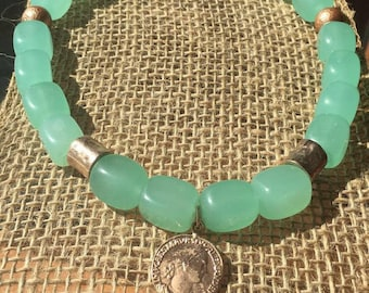 Aqua glass beads and rose gold accents necklace