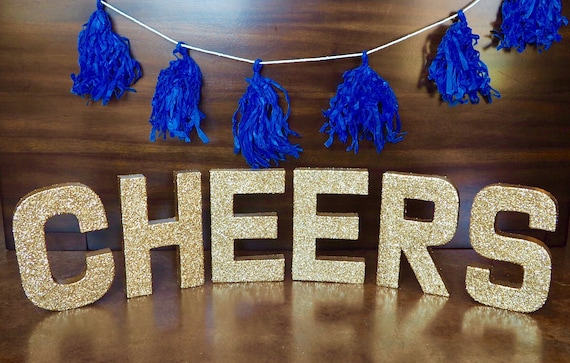 gold cheers stand up letters bachelorette party double sided glitter party decor nye decor mimosa bar ships in 3 5 business days