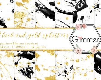 12 Gold foil and black digital papers