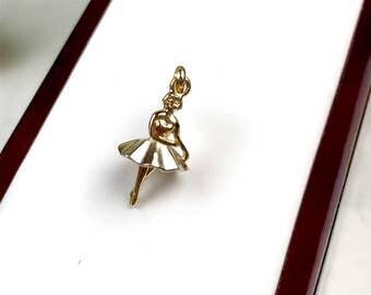 "The ""Paloma"": 14K Gold Ballerina Pendant"