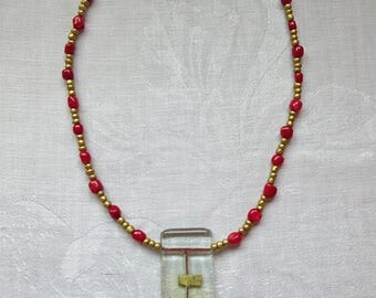 Red and Gold Abstract Fused Art Glass Necklace