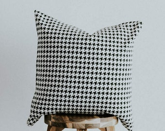 """Throw Pillow Cover Black and White Houndstooth Eclectic Collection 20 inch Square """"Priscilla"""""""