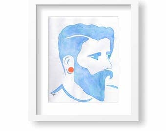 Blue Hipster with Beard and Orange Disc Earring Silhouette Watercolour Original 8x10 Painting