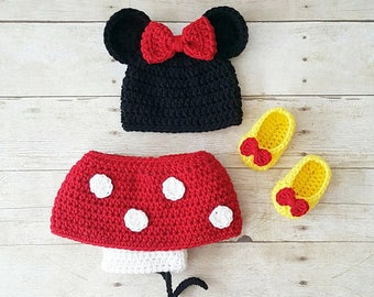 Crochet Baby Minnie Mouse Set Beanie Hat Skirt Diaper Cover Bow Shoes Ears Infant Newborn Baby Photography Photo Prop Girl Baby Shower Gift