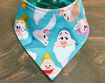 Baby Bandana Bib, Cool 2 Drool Bib, Baby / Toddler Bandana Bib, Drool Bib, Fashion Bibdana, Stylish, Disney, Snow White, Seven Dwarfs, Happy