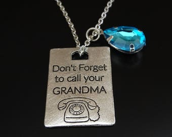 Dont forget to call your Grandma Necklace, Grandma Necklace, Granddaughter Necklace, Granddaughter Jewelry, Granddaughter Gift, Grandma